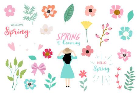 Collection of spring set with woman,flower.Editable vector illustration for website, invitation,postcard and sticker Ilustração