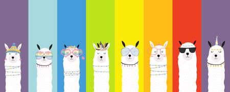 Collection of animal background set with llama,rainbow color.Editable vector illustration for birthday invitation,postcard and sticker Ilustração