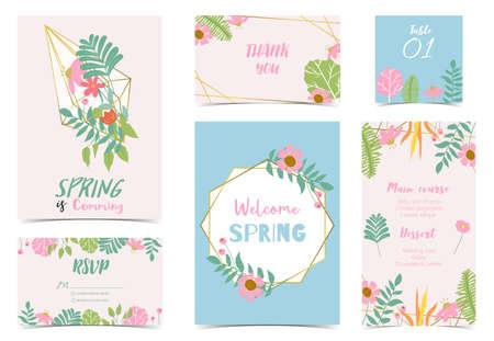 Collection of spring holiday with flower.Editable vector illustration for website, invitation,postcard and banner Ilustração
