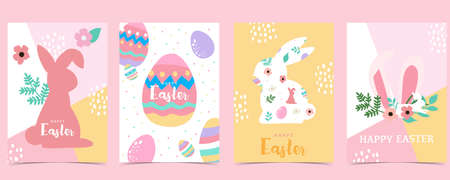 Collection of easter background set with rabbit,egg,flower.Editable vector illustration for website, invitation,postcard and poster 矢量图像