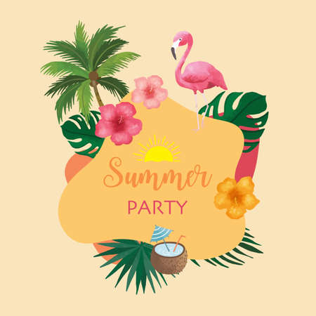 Collection of summer background set with fruit,flamingo,coconut tree.Editable vector illustration for invitation,postcard and website banner