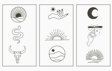 Beauty boho collection with hand,snake,mountain,sun.Vector illustration for icon,sticker,printable and tattoo Vectores
