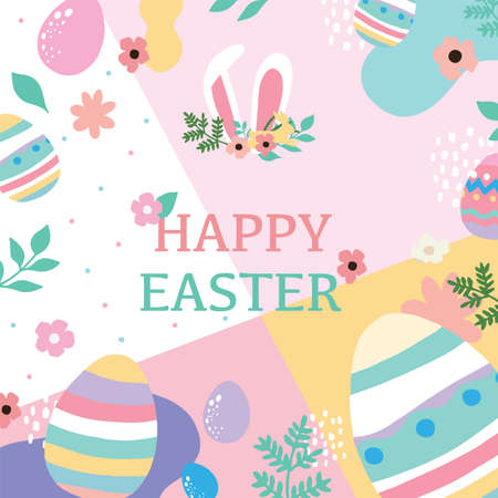 Collection of easter background set with rabbit,egg,flower.Editable vector illustration for website, invitation,postcard and poster Vectores