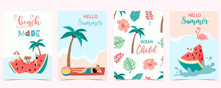 Collection of summer background set with people,watermelon,beach,coconut tree.Editable vector illustration for invitation,postcard and website banner.Hello summer Vectores