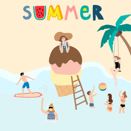 Collection of summer background set with people,beach,coconut tree.Editable vector illustration for invitation,postcard and website banner Vectores