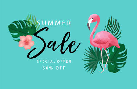 Collection of summer sale background set with flamingo,coconut tree.Editable vector illustration for invitation,postcard and website banner