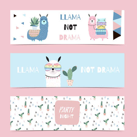Set of cute banner with llama and cactus.Vector illustration for baby invitation, kid birthday invitation,banner and postcard