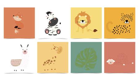 Set of cute animals with fox,leopard,lion,llama,zebra,giraffe.Vector illustration for baby invitation, kid birthday invitation and postcard Vectores