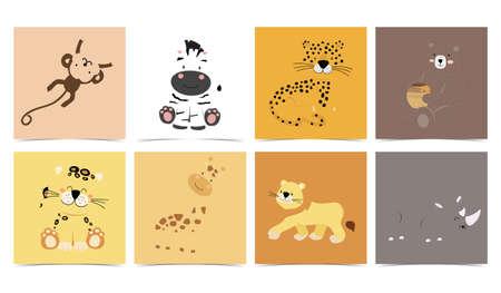 Set of cute animals with monkey,leopard,lion,bear,zebra,rhino.Vector illustration for baby invitation, kid birthday invitation and postcard