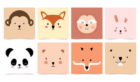 Set of cute animals with monkey,panda,rabbit,bear,sloth,squirrel and fox.Vector illustration for baby invitation, kid birthday invitation and postcard 矢量图像