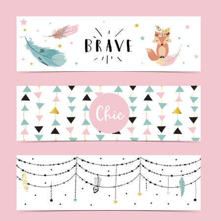 Set of cute boho with feather, flower,leaves,fox.Vector illustration for baby invitation, kid birthday invitation,banner and postcard