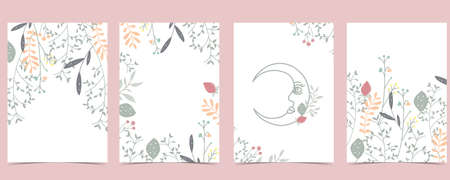 Collection of natural background set with leaf,flower.Editable vector illustration for website, invitation,postcard and poster