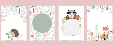 Collection of woodland background set with leaf,flower,animal.Editable vector illustration for website, invitation,postcard and poster