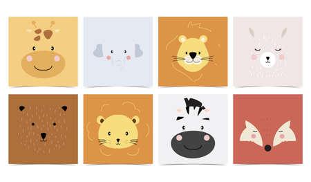 Set of cute animals with elephant,giraffe,lion,bear,fox,llama.Vector illustration for baby invitation, kid birthday invitation and postcard