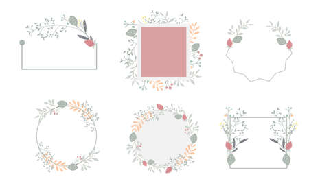 Nature frame collection with leaf and flower.vector illustration for banner and product 矢量图像
