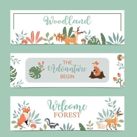 Set of cute woodland with fox,rabbit,mushroom.Vector illustration for baby invitation, kid birthday invitation,banner and postcard