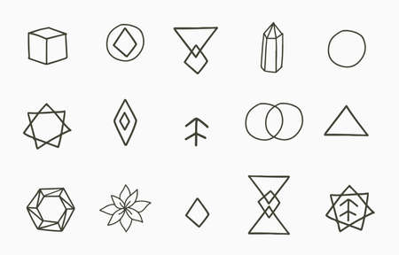 Collection of line design with geometric,shape.Editable vector illustration for website, sticker, tattoo,icon Иллюстрация