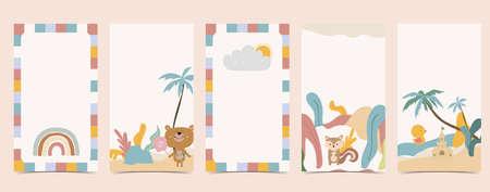 Cute background for social media.Set of story with rainbow,bear,tree Иллюстрация