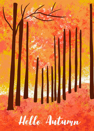 autumn forest background with tree,leaves,sky,road