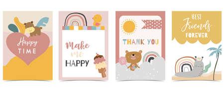Collection of kid postcard set with bear, rainbow, sun.Editable vector illustration for website, invitation,postcard and sticker Иллюстрация