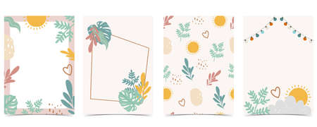 Collection of kid postcard set with leaf, sun.Editable vector illustration for website, invitation,postcard and sticker Иллюстрация