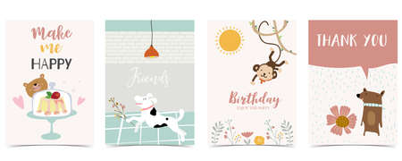 Collection of kid postcard set with monkey,bear, sun.Editable vector illustration for website, invitation,postcard and sticker