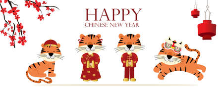 Gold red Chinese New Year card with tiger,flower,lunar.Editable vector illustration for website, invitation,postcard and sticker