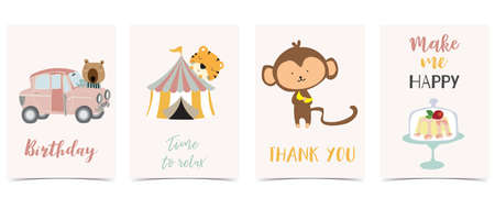 Collection of kid postcard set with car,monkey, cake.Editable vector illustration for website, invitation,postcard and sticker Иллюстрация