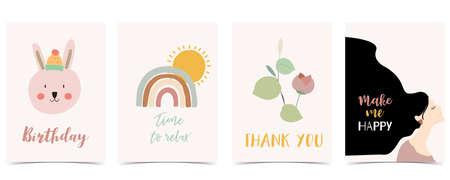 Collection of kid postcard set with leaf,rainbow, sun.Editable vector illustration for website, invitation,postcard and sticker Иллюстрация