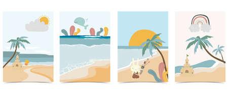 Collection of kid postcard set with sand,sea, sun.Editable vector illustration for website, invitation,postcard and sticker Иллюстрация