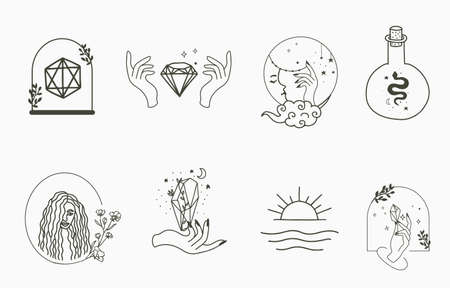 Collection of line design with woman,snake,moon.Editable vector illustration for website, sticker, tattoo,icon
