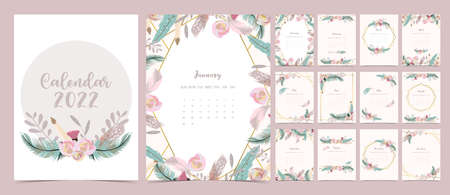 2022 table calendar week start on Sunday with feather and flower that use for vertical digital and printable A4 A5 size Иллюстрация