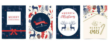 Collection of winter background set with tree,raindeer,flower,leaves.Editable vector illustration for christmas invitation,postcard and website banner Иллюстрация