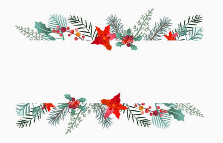 Collection of Christmas background set with holly leaves,flower,reindeer.Editable vector illustration for New year invitation,postcard and website banner Иллюстрация