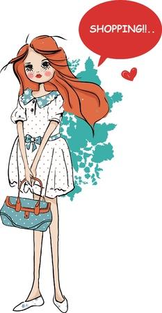 cute shopping fashion girl