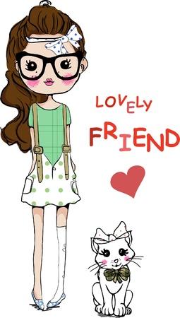 cute: Abbildung nettes M�dchen mit Katze