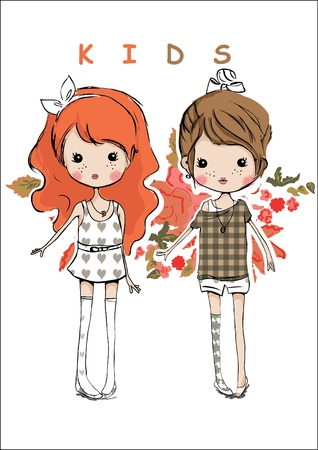 cute girl cartoon: illustration kids