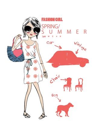 bocetos de personas: chica de compras de ilustración