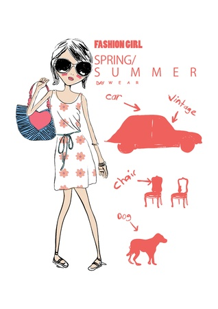 fashion bag: illustration shopping girl