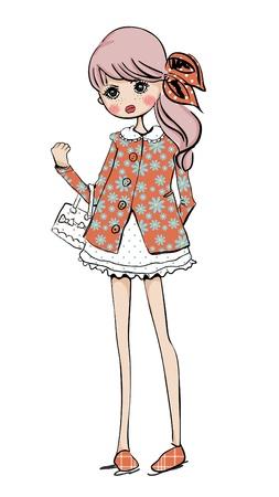 illustratie schattig meisje winkelen