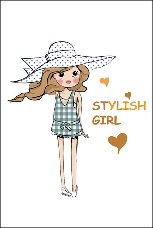 illustration cute girl Stock Vector - 9638748