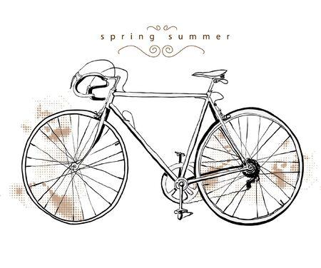 Ilustracja zabytkowe rowerów Ilustracja