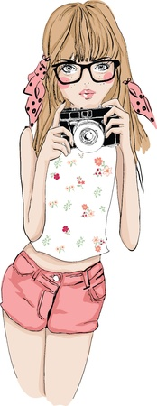 illustration cute girl with camera Illustration