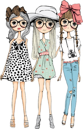 illustration sketch girl collection Vector