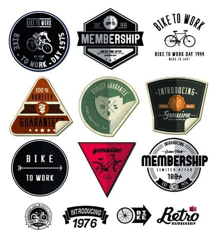 crank: Juego de tarjetas de la tienda de bicicletas antiguas y modernas y las etiquetas Vectores