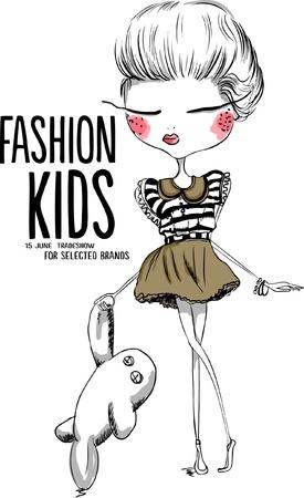 illustrazione moda: illustrazione dello shopping ragazza carina