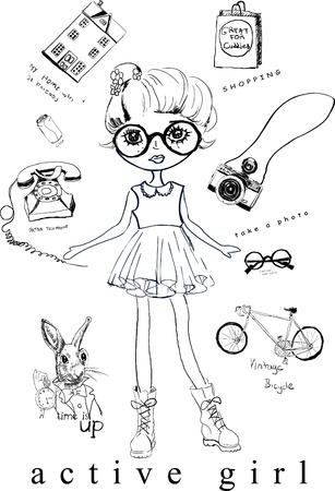 cute girl w działalności Ilustracja