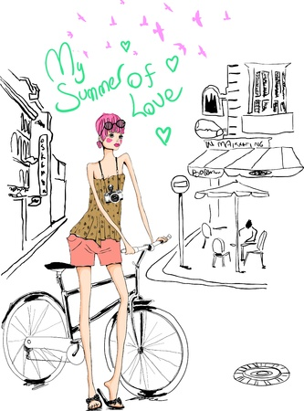 sketch girl in holiday with bicycle and camera
