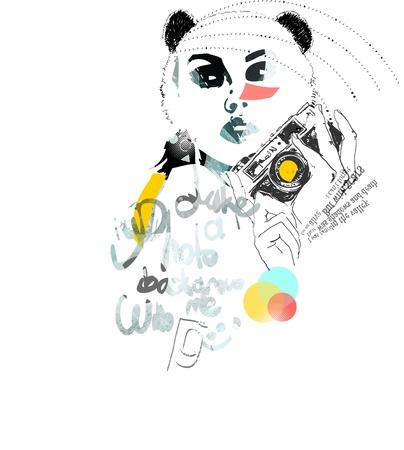 dziewczyna tusz Zrób zdjęcie Ilustracja