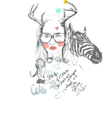 dziewczyna szkic z dzikiego życia Ilustracja
